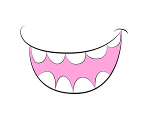 Cartoon smile, mouth, lips with teeth. vector illustration isolated on white background