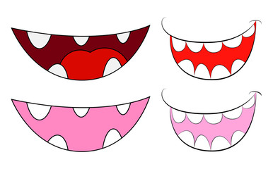 Cartoon smile, mouth, lips with teeth and tongue set. vector illustration isolated on white background