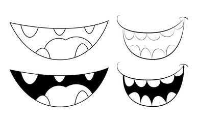 Cartoon smile, mouth, lips with teeth. vector silhouette, outline illustration isolated on white background