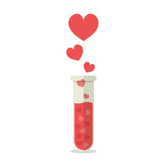 Heart Symbols coming out of a Test Tube