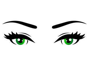 green woman eyes
