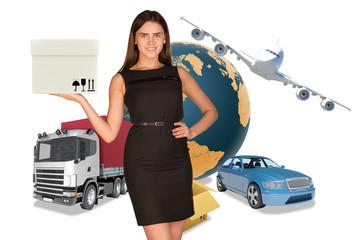 Businesswoman holding white box