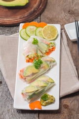 Spring rolls with vegetables and avocado
