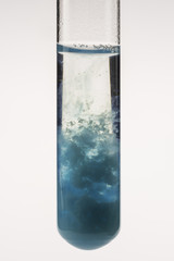 Test tube with fuzzy blue solution We can observ the reaction of Cu(II) ions with NaOH.