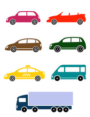 set of colorful car icon