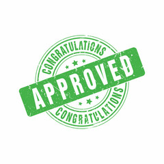 Vector Congratulations Approved stamp