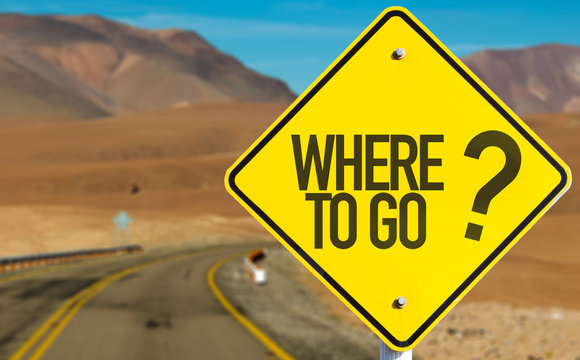 Where To Go? sign on desert road
