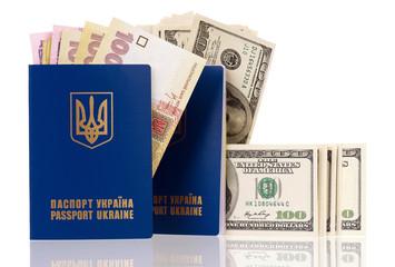 Passport Ukraine with money