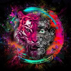 красочная голова тигра с половиной черепа