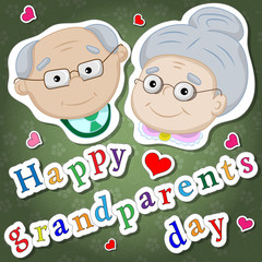 Greetings on grandparents day with the phrase and face of grandparents