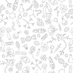 Seamless background with hand drawn icons on the theme of biology,dark outline on a light background