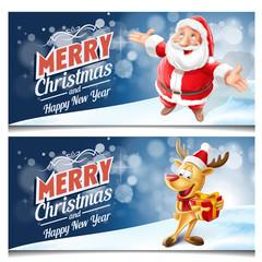 merry christmas frame  santa claus and reindeer
