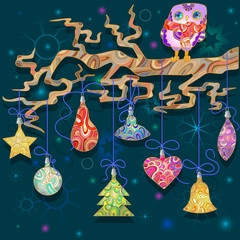 Background for new year holidays with an owl and Christmas decorations