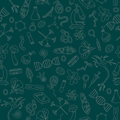Seamless background with hand drawn icons on the theme of biology,light outline on a dark background