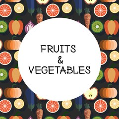 Fruits & Vegetables vector illustration with a pot, logo design, concept of healthy food, can be used for restaurant menu
