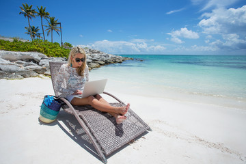 Businesswoman working anywhere