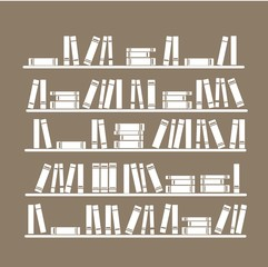 Book shelves vector illustration, colorful backgrounds. Education concept