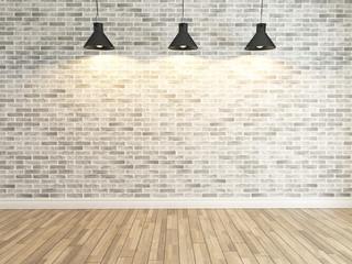 white brick wall decoration under the three spot light rendering