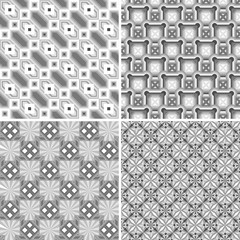 Set of Geometric seamless patterns. Grey. Monochrome Mosaic. Repeating geometric tiles from colored squares, flowers, rhombuses with fancy pattern. Texture. Background.