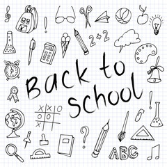 Hand drawn back to school doodles.  Paper Background. Vector illustration.