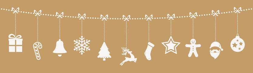 christmas ornaments hanging rope gold background