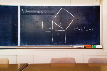 Schematic and formula for Pythagorean theorem handwritten on very old scratched school board.