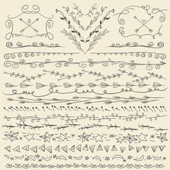 Set of hand drawn lines border and elegant design elements.
