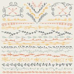Hand drawn lines border, branch and elegant design elements. Retro colors.