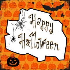 Happy halloween card. Design template, with pumpkin, bat, spider and text happy halloween.