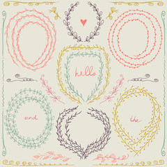 Set of hand drawn floral frame and  lines border in retro style. Pastel backdrop. Illustration vector.