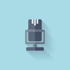 Flat web icon. Microphone.