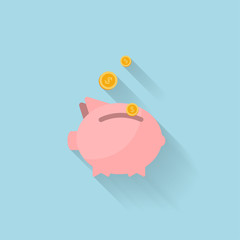 Flat piggy bank icon for web