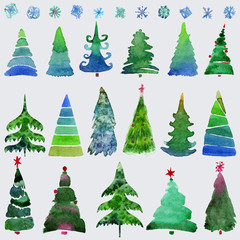 Christmas trees  and snowflake  set of holidays hand drawn paint winter season.