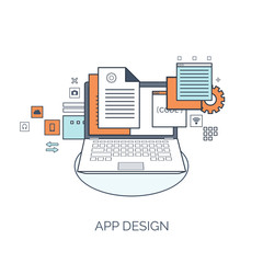 Vector illustration. Flat computing background. Programming