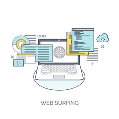 Vector illustration. Flat computing background. Programming