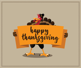 Happy Thanksgiving cartoon turkey holding banner design. royalty free stock illustration for greeting card, ad, promotion, poster, flier, blog, article, social media, marketing