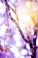 Christmas Background with Toy Owl Bird