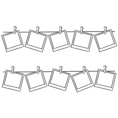 Photo frames on rope doodle sketch, vector