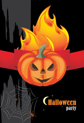 Halloween hot party. Banner for holiday design