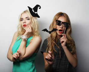 two stylish sexy hipster girls  ready for party
