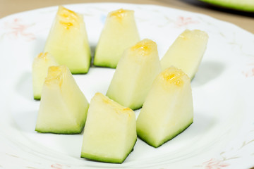 "Chunks of Santa Claus melon, also known as ""piel de sapo"" (in spanish, ""toad skin"")"