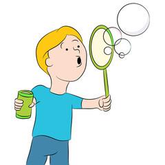 Blowing Bubbles Kid