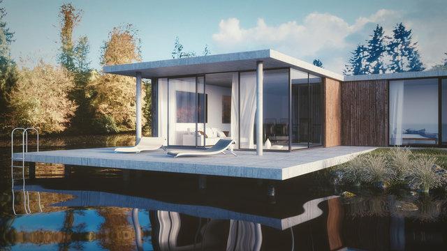 Architektur Haus am See - 3D render