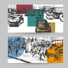 Set of city banner design elements, vector illustration