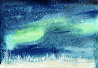 Winter landscape with snowy pine forest and aurora starry sky. Watercolor painting.