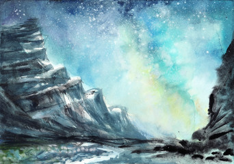 Space watercolor scene with nighty rocks against starry sky