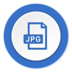 jpg file blue circle 3d modern design flat icon on white background