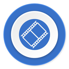 film blue circle 3d modern design flat icon on white background