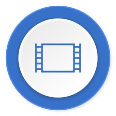 movie blue circle 3d modern design flat icon on white background