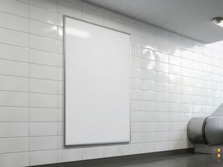 Blank billboard in the bright subway. 3d rendering
